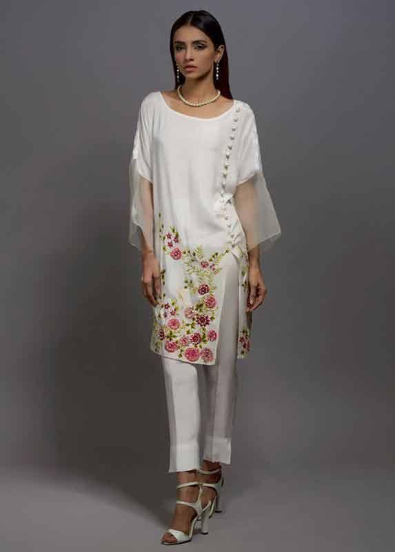 White organza shirt with matching capri pants Deepak Perwani eid dresses for girls 2017
