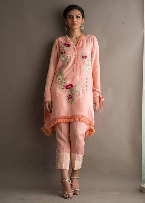 Pink peach shirt with matching capri Deepak Perwani eid dresses for girls 2017