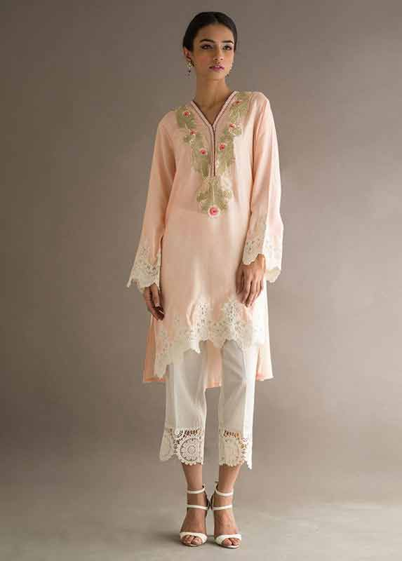 Light pink shirt with white trousers capri Deepak Perwani eid dresses for girls 2017