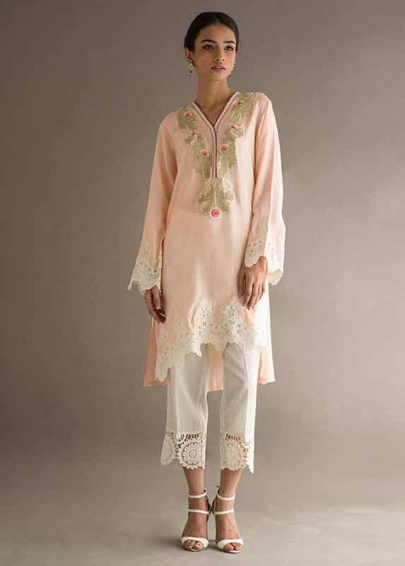 Light pink shirt with white trousers capri Deepak Perwani eid dresses for girls 2017