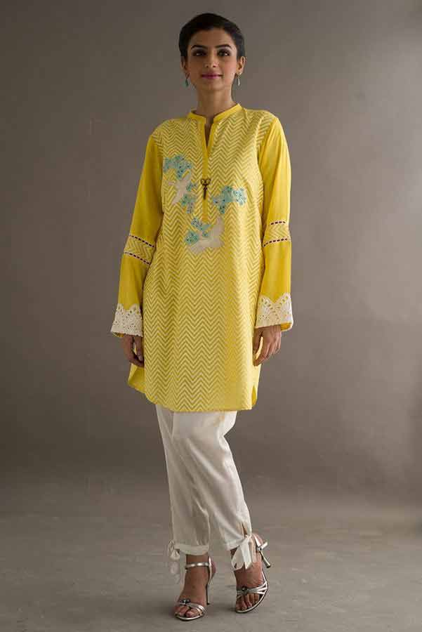 Best white and yellow dress Deepak Perwani eid dresses for girls 2017