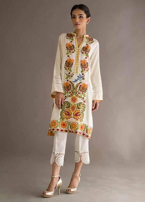 White and brown shirt with white capri Deepak Perwani eid dresses for girls 2017