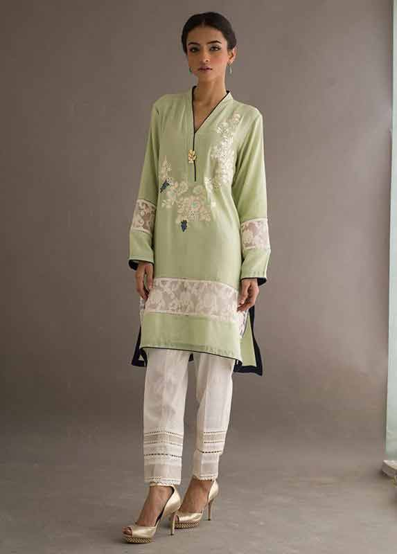 Green shirt with white pajama Deepak Perwani eid dresses for girls 2017