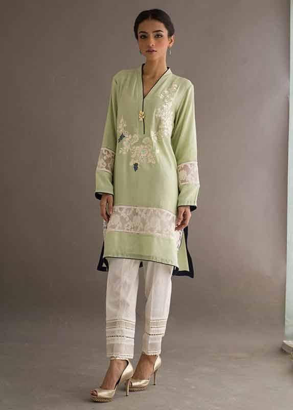 Green shirt with white pajama Deepak Perwani eid dresses for girls 2017