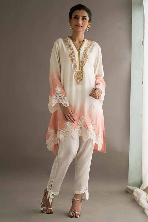 Pink shirt with white capri pants Deepak Perwani eid dresses for girls 2017
