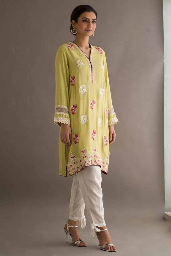 Yellow shirt with white capri Deepak Perwani eid dresses for girls 2017