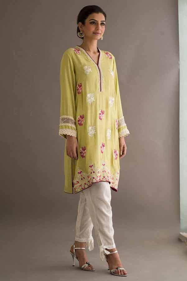 Yellow shirt with white capri Deepak Perwani eid dresses for girls 2017