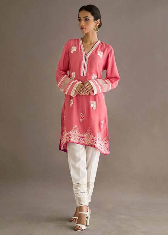 Latest pink and white dress Deepak Perwani eid dresses for girls 2017