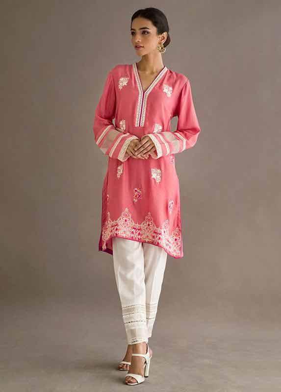 Latest pink and white dress Deepak Perwani eid dresses for girls 2017