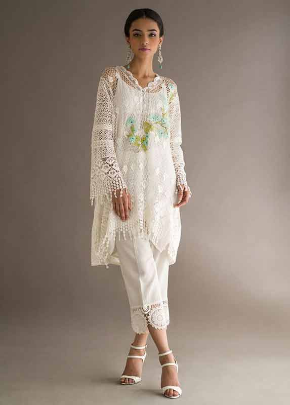 Latest net white dress Deepak Perwani eid dresses for girls 2017