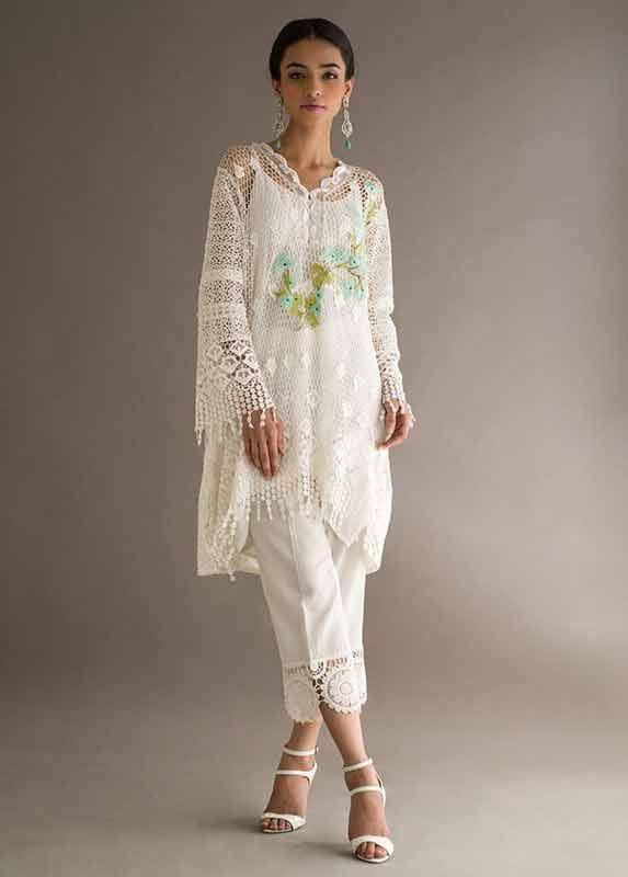 Latest net white dress Deepak Perwani eid dresses for girls 2017