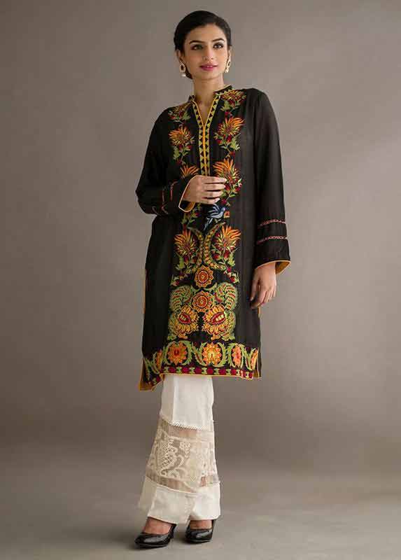 Latest black and brown shirt with white trousers Deepak Perwani eid dresses for girls 2017