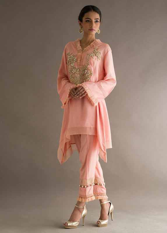 Peach short shirt with matching capri pants Deepak Perwani eid dresses for girls 2017