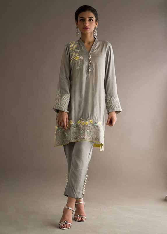 Latest grey shirt with matching pants Deepak Perwani eid dresses for girls 2017