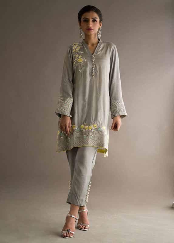 Latest grey shirt with matching pants Deepak Perwani eid dresses for girls 2017
