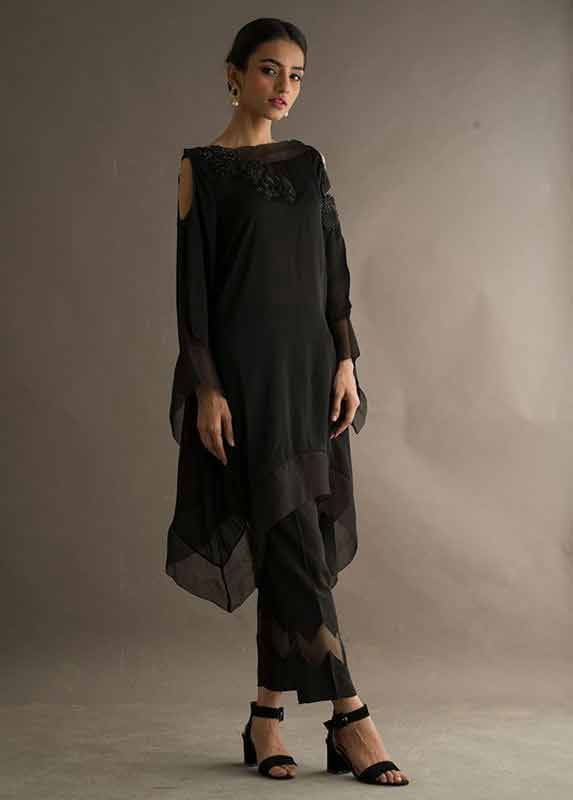Latest black net shirt with black capri pants Deepak Perwani eid dresses for girls 2017
