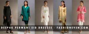 Latest white black golden and green dresses with capri pants Deepak Perwani eid dresses for girls 2017