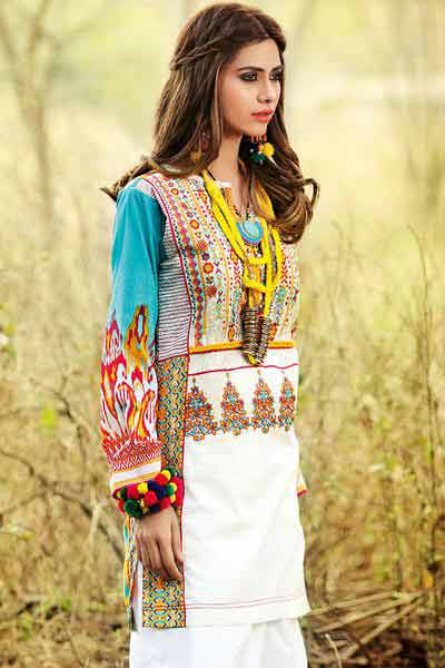 Gul Ahmed kurti new eid dress designs for girls in Pakistan 2017