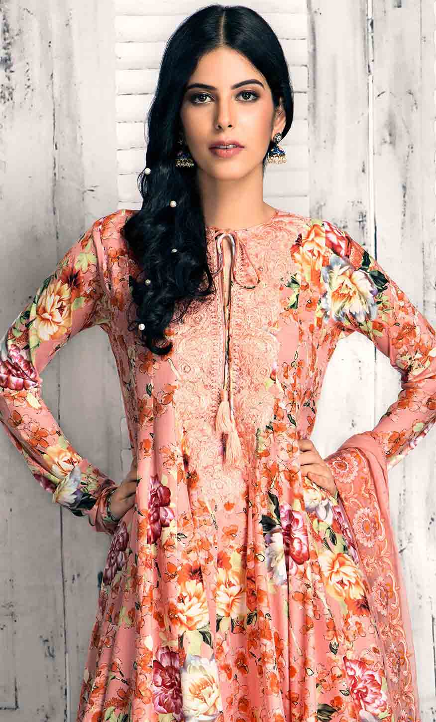 Gul AHmed peach short frock new eid dress designs for girls in Pakistan 2017