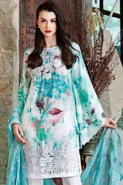 Gul Ahmed light blue kurti new eid dress designs for girls in Pakistan 2017