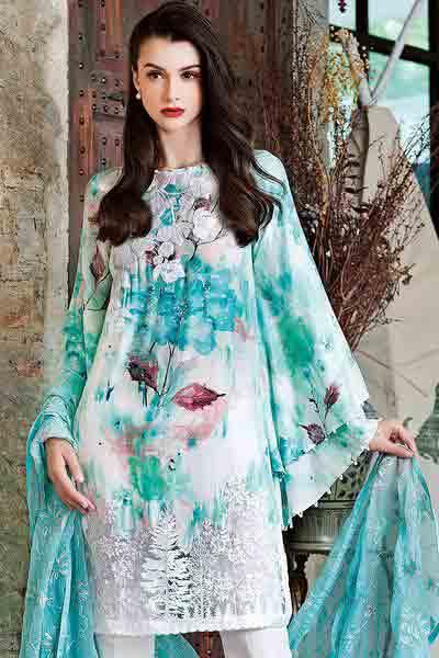 Gul Ahmed light blue kurti new eid dress designs for girls in Pakistan 2017