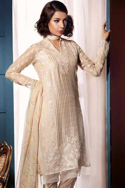 Gul Ahmed off white kameez shalwar new eid dress designs for girls in Pakistan 2017