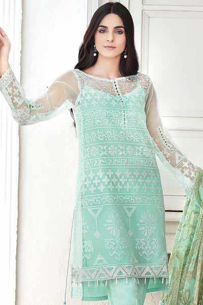 Gul Ahmed sky blue kameez shalwar new eid dress designs for girls in Pakistan 2017