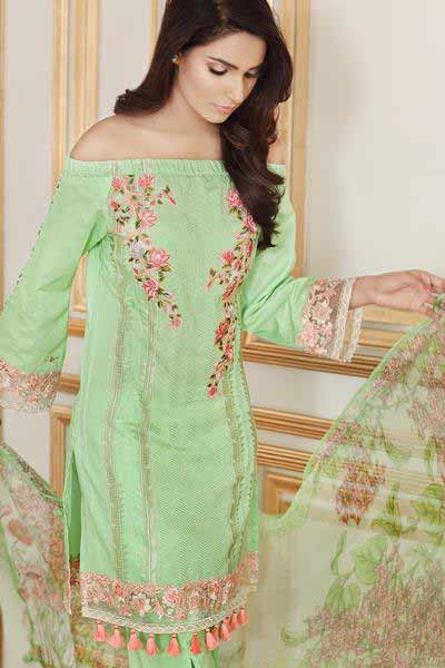 Gul Ahmed light green off shoulder shirt new eid dress designs for girls in Pakistan 2017