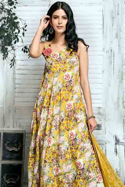 Gul Ahmed yellow long frock new eid dress designs for girls in Pakistan 2017