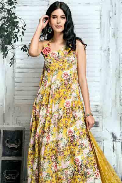 Gul Ahmed yellow long frock new eid dress designs for girls in Pakistan 2017