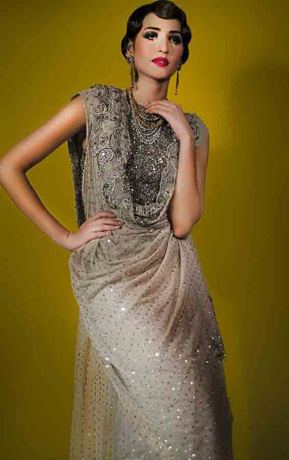 Pakistani saree designs in ash grey color for wedding brides