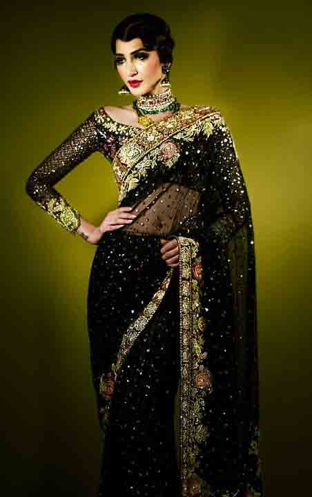 Pakistani saree designs in black and golden color combinations for wedding brides