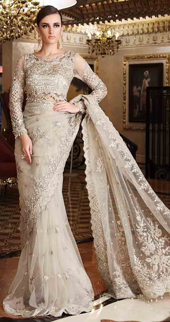 Pakistani saree designs in golden color for wedding brides