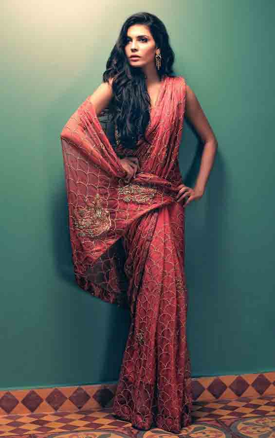Pakistani saree designs in deep pink color for wedding brides