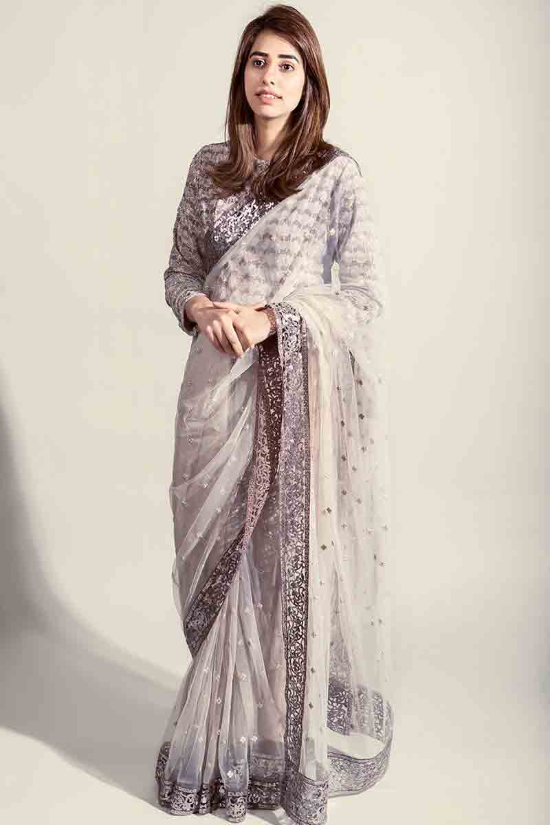 Pakistani saree designs in grey color for wedding brides