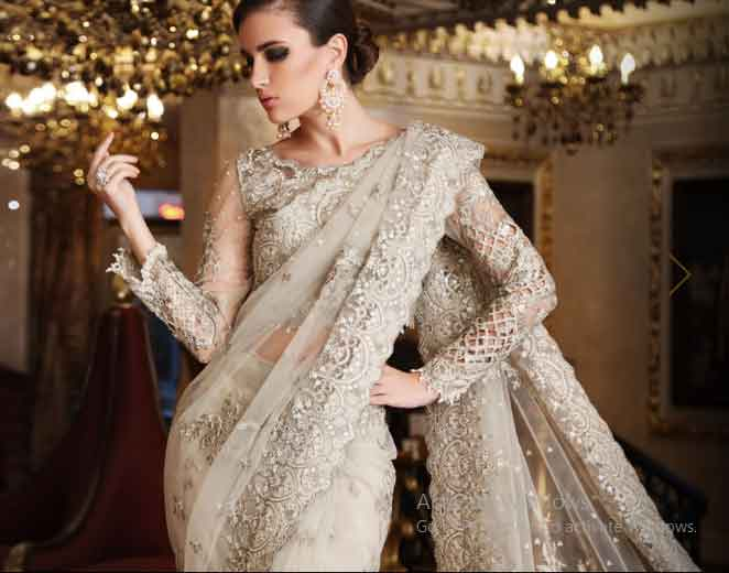 Pakistani saree designs in beige color for wedding brides