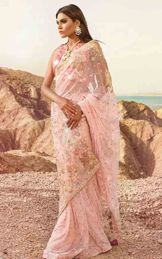 Pakistani saree designs in light pink color for wedding brides