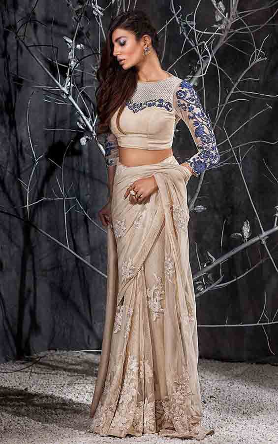Pakistani saree designs in blue and off white colors for wedding brides
