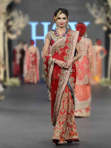 Pakistani saree designs in red color for wedding brides