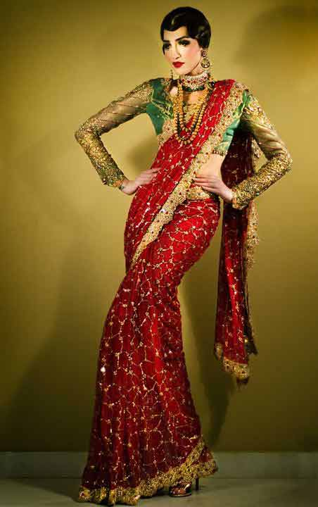 Pakistani saree designs in red and green colors for wedding brides
