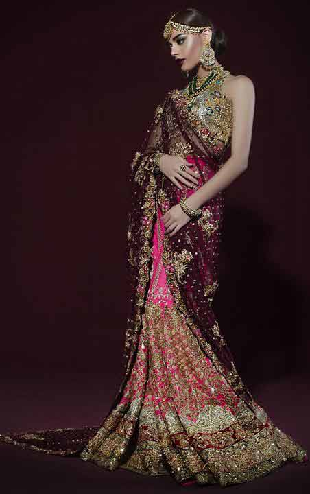 Pakistani saree designs in magenta and pink colors for wedding brides