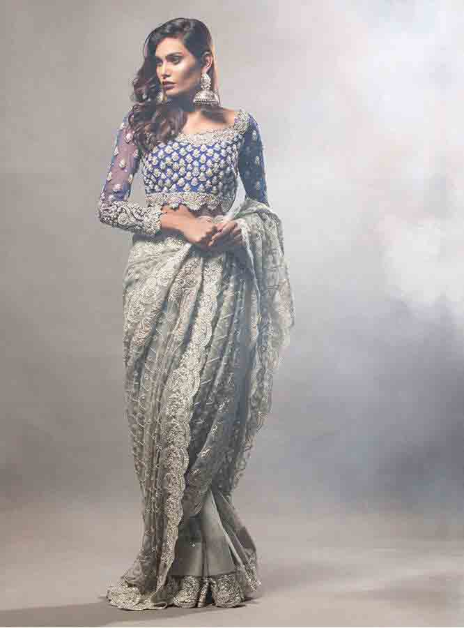 Pakistani saree designs in ash grey and blue color combination for wedding brides