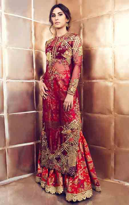 Pakistani saree designs in red and golden color combinations for wedding brides