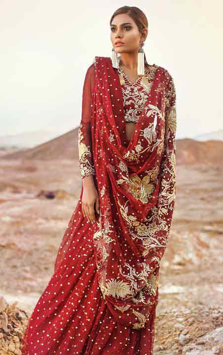 Pakistani saree designs in red color with embroidery for wedding brides