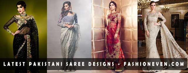 Pakistani saree designs in red black and ash white colors for wedding brides in 2018