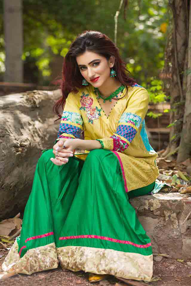 New green sharara and yellow shirt by Zahra Ahmad Eid dresses for girls in Pakistan