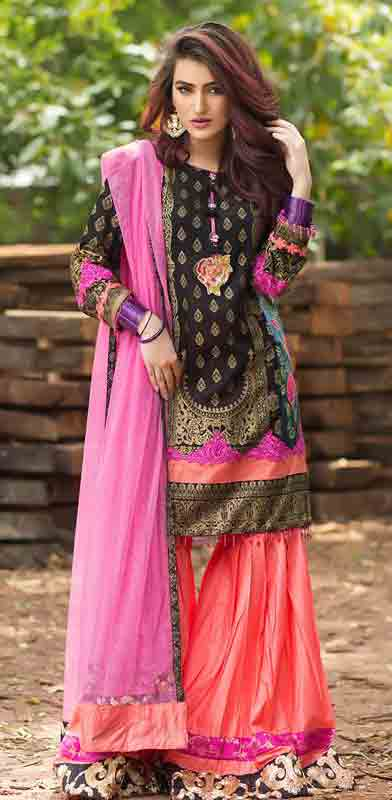Latest black short shirt with matching pink dupatta and orange shalwar by Zahra Ahmad Eid dresses for girls in Pakistan
