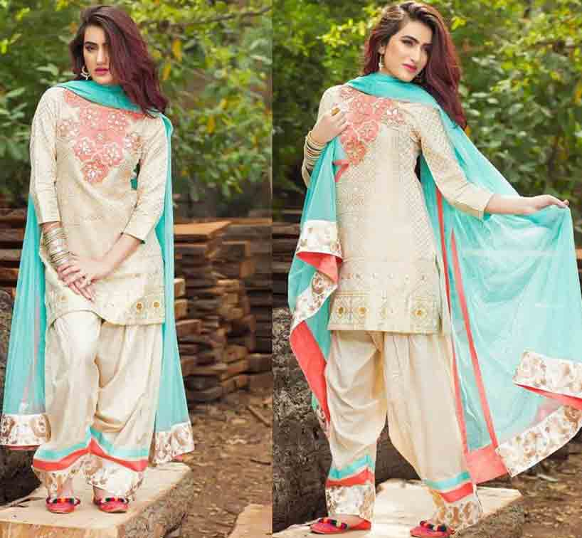 Best white short shirt with sky blue dupatta and matching shalwar by Zahra Ahmad Eid dresses for girls in Pakistan