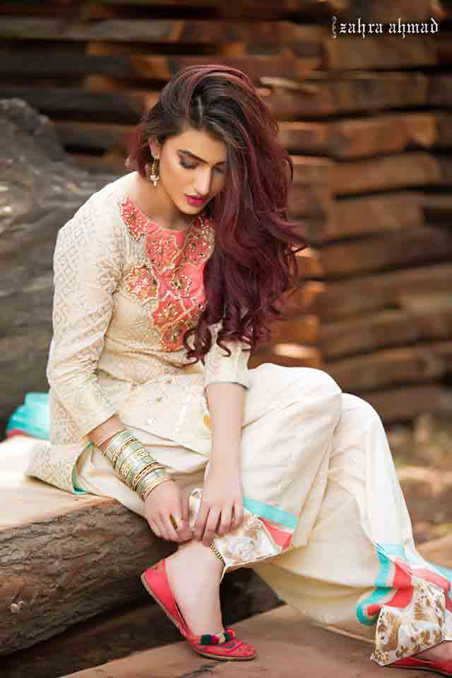 New white and pink shirt by Zahra Ahmad Eid dresses for girls in Pakistan