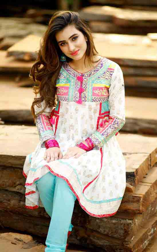 Latest white short shirt style Zahra Ahmad Eid dresses for girls in Pakistan